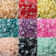 9 Colors 10mm Imitation Pearl Round Half Beads 100pcs/Lot Wholesale For Women Nail Art Beads DIY Jewelry Accessories Decoration(China)