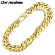 Davieslee Double Chain Bracelet for Men Gold Stainless Steel