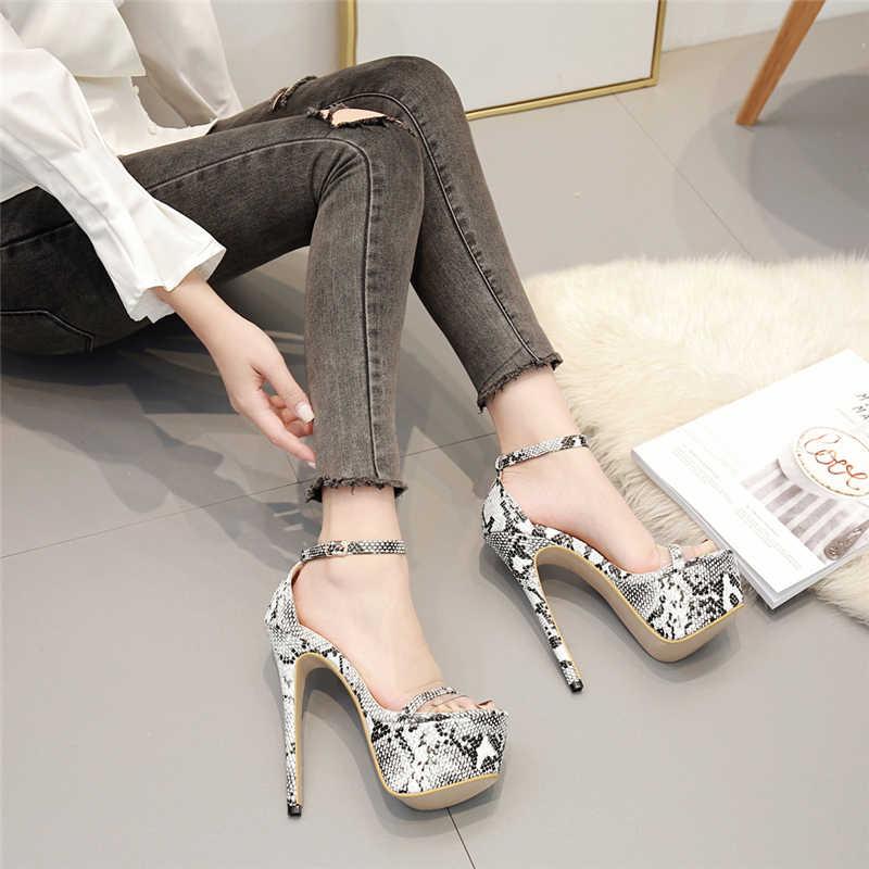 2019 Kadın Yaz 16 cm Yüksek Topuklu Sandalet Fetiş Sevgililer Serpantin Platformu Pompaları Kadın Ayakkabı Escarpins Kayış Topuklu Ayakkabı