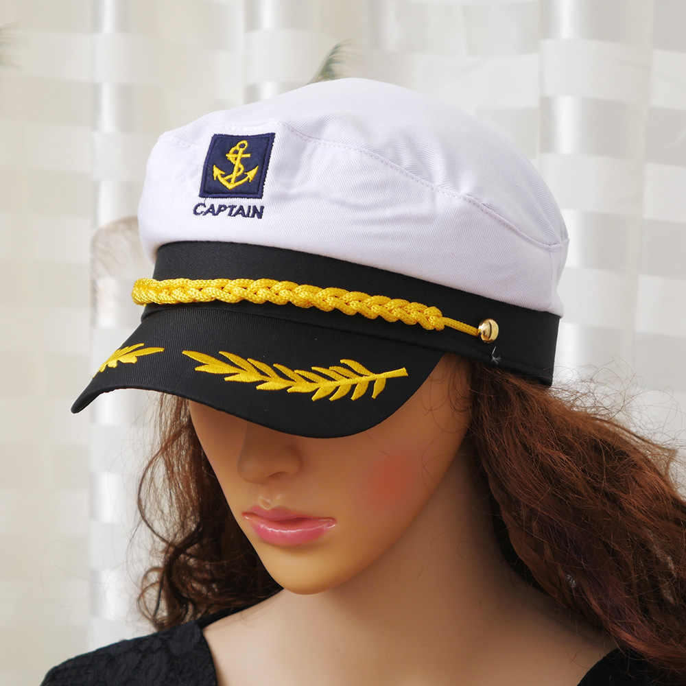 ... White Yacht Captain Navy Marine Skipper Ship Sailor Military Nautical  Hat Cap Costume Adults Party Fancy ... 90d185c5ab81