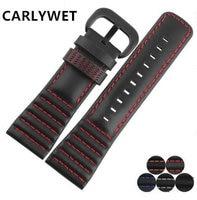 CARLYWET 28mm Man Women Real Calf Leather Handmade Black With White Orange Red Blue Stitches Wrist
