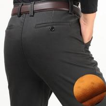 Inverno degli uomini di spessore pantaloni casual di velluto addensare a vita alta confortevole medio di età compresa tra mens di affari del cotone pantaloni dritti lunghi