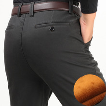 Winter thick men casual pants with velvet thicken high waist comfortable middle aged mens cotton business straight long pants