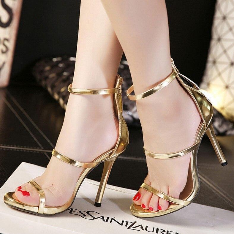 Haute Ouvert A548a Évidé Chaussures Black Doux À talon pink Bout Summer silver Étoiles 2018 Femmes Sexy Nouveau Éclair Marque gold Sandales Fermeture wwBqPAI