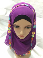 M1990 Мода Оптовая мусульманин тюрбан Хиджаб вышивка равнине voile 105 см * 105 см 12 шт. в десятках квадратных шарф