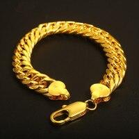 אירופאי אופנה גברים צמיד זהב צהוב מלא עבה לרסן את קישור צמיד מתנת תכשיטים בסגנון פאנק