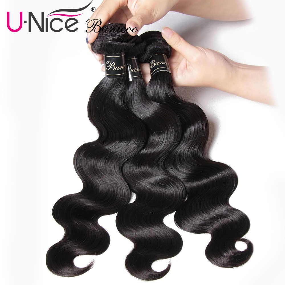 "UNice Hair Banicoo Series 10A Virgin Hair Unprocessed Human Hair Weaving 3 Bundles 8-28""Brazilian Virgin Hair Body Wave Bundles"