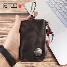 AETOO Creative key pack, Retro Head cowhide card Pack, male and female large capacity car pack