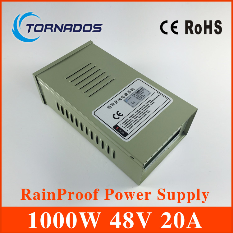 Rainproof 48V 20A 1000W Switching Power Supply Driver Switching For LED Strip Light Display 110V or 220V FY-1000-48 90w led driver dc40v 2 7a high power led driver for flood light street light ip65 constant current drive power supply