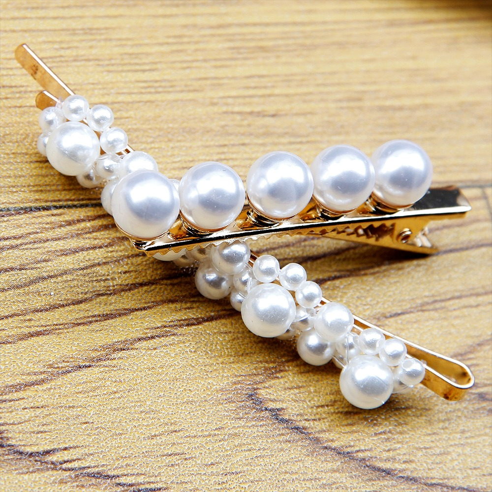 hair clips for women full pearls hairclip fashion style metal Metal Ponytail holder Hairpins BB Hairgrip Girls Hair Accessories