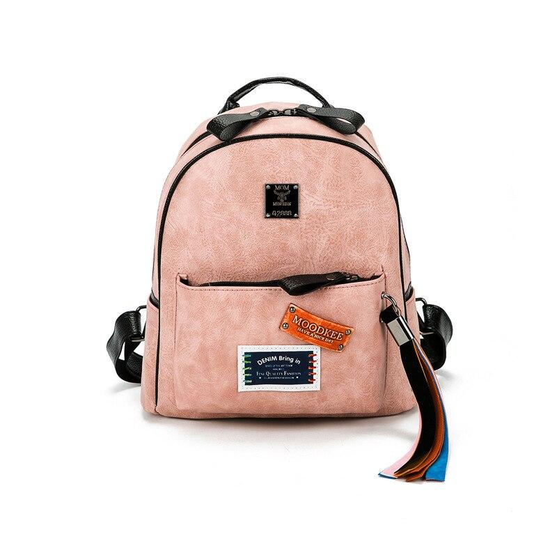 Ribbon tassel backpack female 2017 New Mini Backpack School Badge rivet style casual shoulder bag
