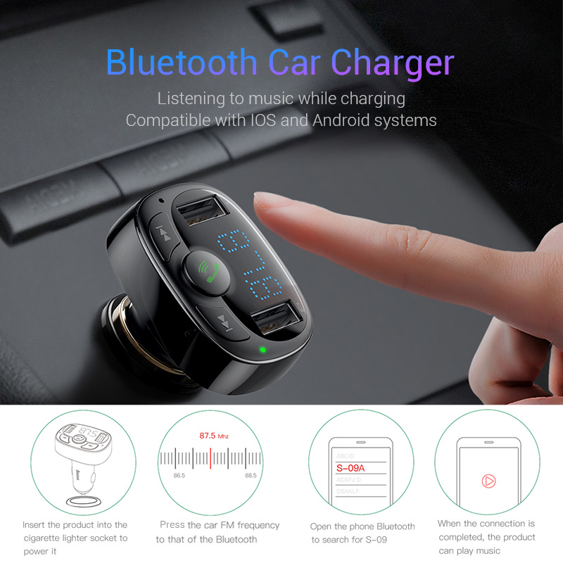 Bluetooth Car Charger | Handsfree FM Transmitter w/ LCD & MP3 Player Dual USB 1