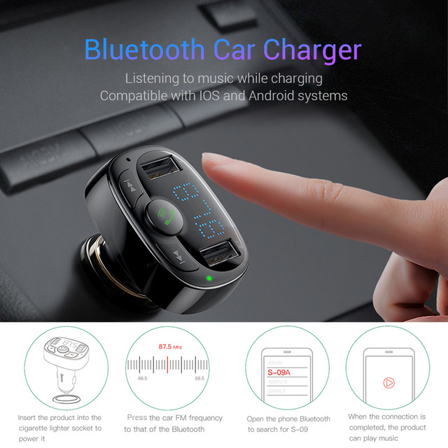 Baseus Car Charger for iPhone Mobile Phone Handsfree FM Transmitter Bluetooth Car Kit LCD MP3 Player Dual USB Car Phone Charger 2