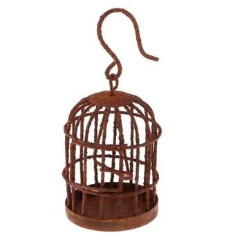 Metal Miniature Hollow Hook Birdcage Dollhouse Fairy Garden DIY Pendant Decoration