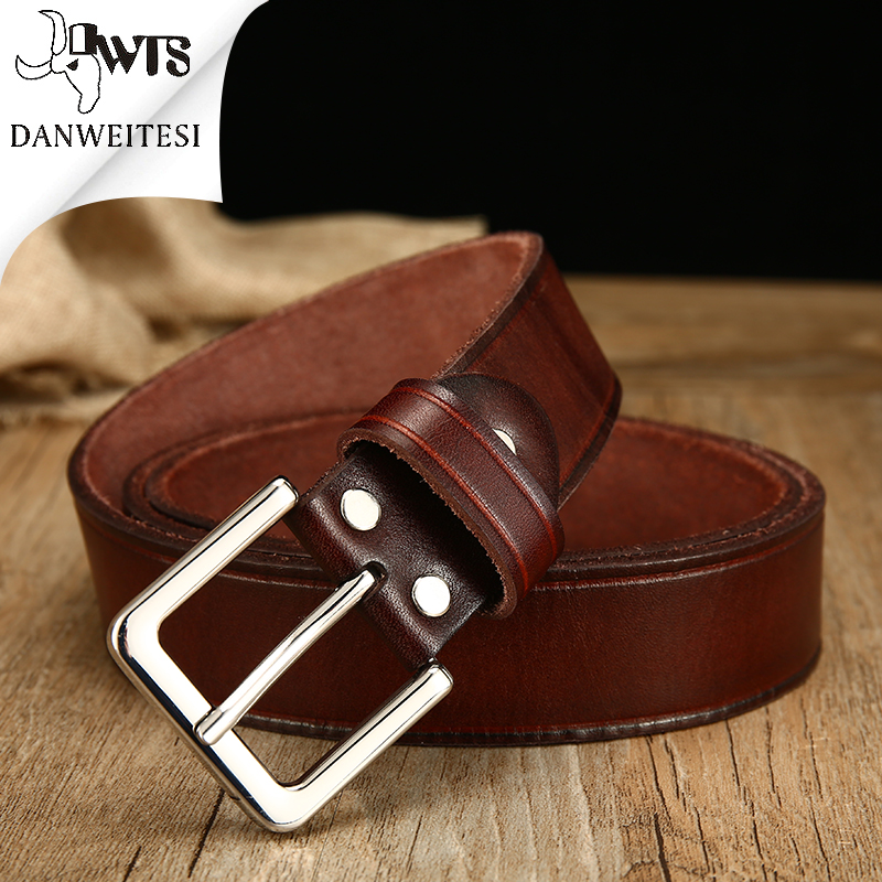 [DWTS]2018 full grain cowhide leather men belt luxury buckle belts for men strap male pin buckle masculino cinturones hombre