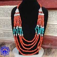 TNL381 Tibetana Coral Turquesa Artificial de múltiples capas de perlas collar Al Por Mayor de Tíbet Hecha A Mano Joya