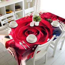 Customizable Polyester 3d Tablecloth Europe Pink Red Rose Flower Pattern Thicken Washable Cotton Rectangular&Round Table cloth