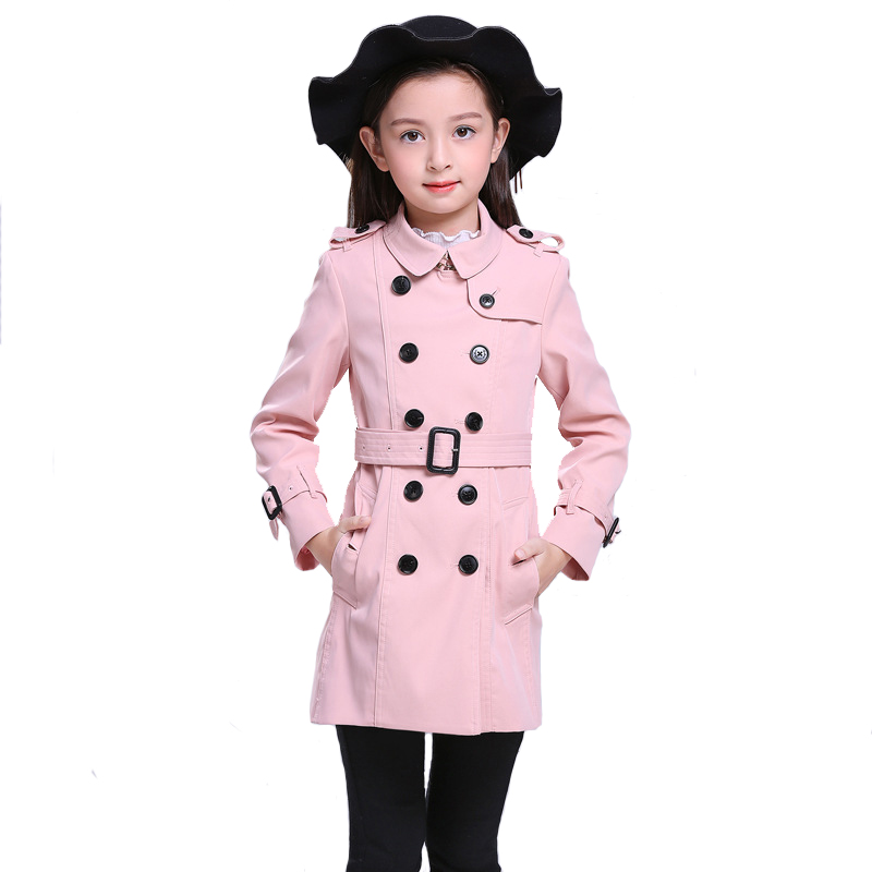 Brand Girls Coats Winter\autumn Children Long Classic Double Breasted Kids Outerwear Classic High Quality 6y-14y