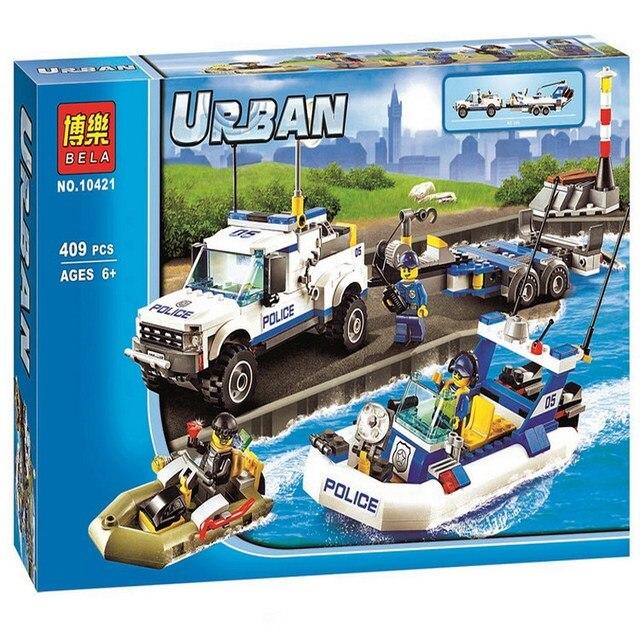 2017 Nowe Miasto Patrol Policji 409 sztuk/zestaw 10421 Building Blocks Action Mini Lalka Zabawki 60045 Darmowa Wysyłka - aliexpress