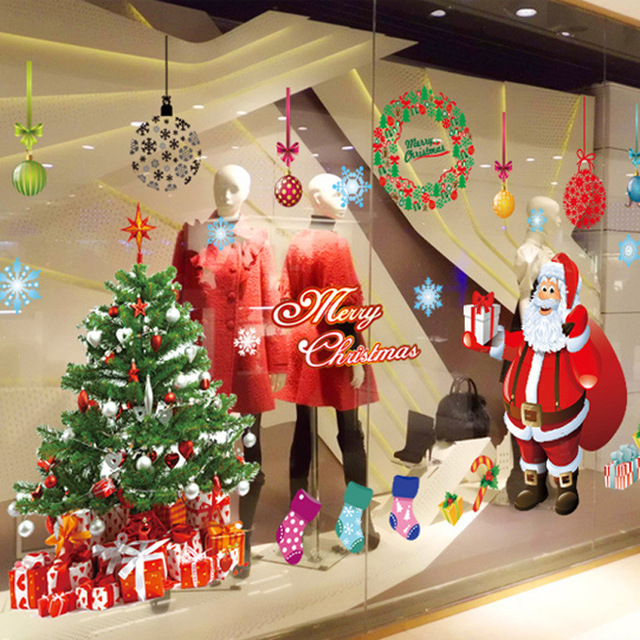 hot DIY gift Christmas decoration wall stickers new year shop living bed room Glass window Santa Claus tree Snowflake children