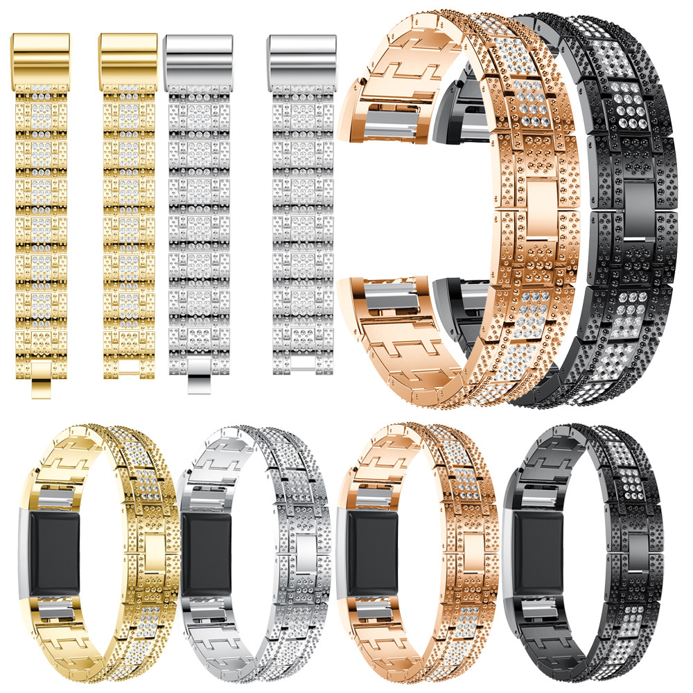 Wrist strap for Fitbit Charge 2 band men Luxury Alloy Crystal Watch Band Wrist Strap With Metal Frame Adjustable N24