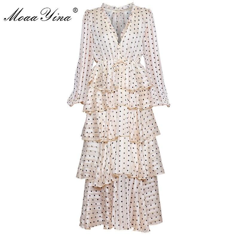MoaaYina V neck luxurious Gold Line Wave point Cascading Ruffle Dresses Spring Women s Lantern Sleeve