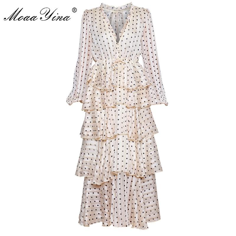 MoaaYina V-cou luxueux Or Ligne Vague point À Volants En Cascade Robes Printemps Femmes de Lanterne Manches Vacances Eegant Gâteau Robe