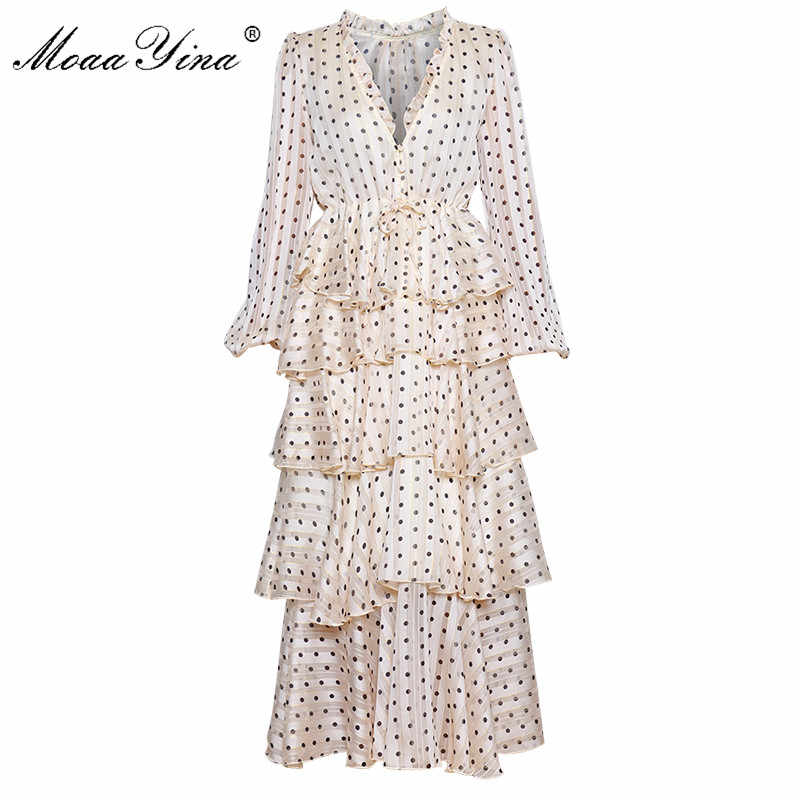 MoaaYina, роскошное платье с v-образным вырезом, золотая линия, волнистое, Каскадное платье с оборками, весеннее женское платье с рукавами-фонариками, праздничное платье Eegant