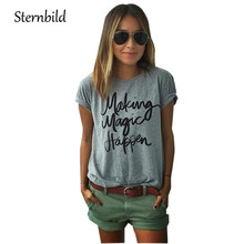 купить STERNBILD European Style Letter Print T-shirt for Women Summer Loose O-Neck Short Sleeve Women's Tops Tees Fashion T shirt Women дешево