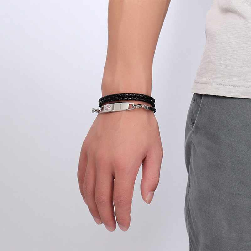 Spersonalizowany darmo grawerować medyczne bransoletki bransoletki ze stali nierdzewnej skóry ręcznie łańcuch bransoletka bransoletka dla mężczyzn biżuteria