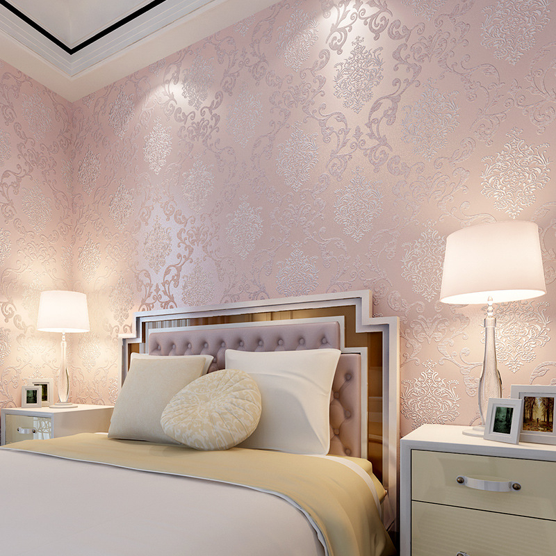 beibehang Romantic wedding room bedroom full papel de parede 3D wallpaper non woven simple European Damascus wall paper roll beibehang papel de parede romantic garden fresh rattan non woven bedroom living room sofa background wallpaper 3d wall paper
