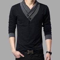 2016 Fashion Brand Trend Slim Fit Long Sleeve T Shirt Men Pactchwork Collar Tee V Neck