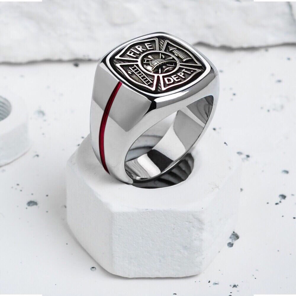 Keisha Lena Mens Firefighter Ring Stainless Steel Firemen Ring Top Quality  Red Line Rings(china