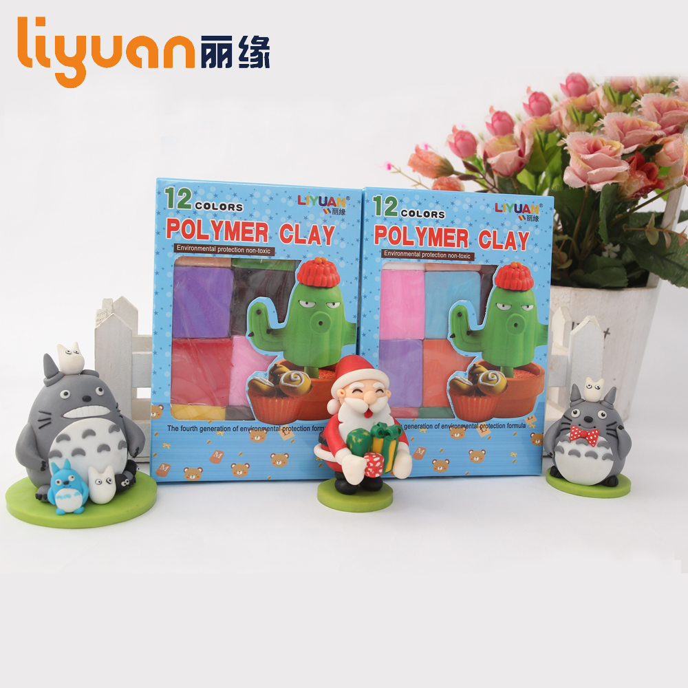 Liyuan 12 Farger / Set Soft Effect Polymer Clay Intelligent Plasticine DIY Modeling Håndverk Art Toys Fødselsdag Gift for Child