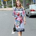 Alta qualidade 2017 runway summer dress mulheres manga flare straighe dress vestidos charme floral impresso do vintage