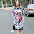 High Quality 2017 Runway Summer Dress Women's Flare Sleeve Charming Floral Printed Vintage Straighe Dress Vestidos