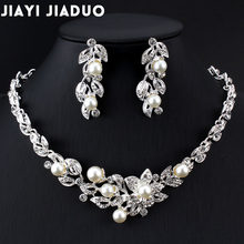 Jiayijiaduo Bridal Jewelry Sets for Women Christmas Gifts Dress Accessories Silver Color Imitation Pearl Necklace Earrings(China)