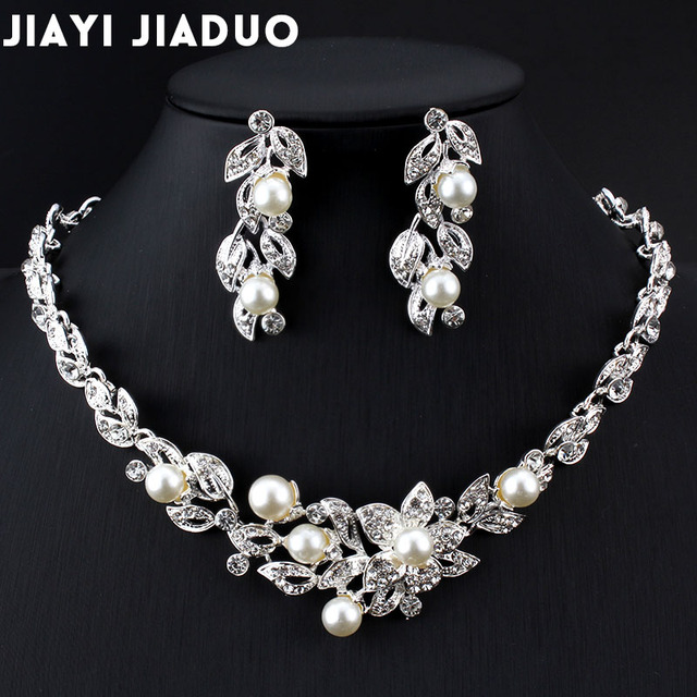 Jiayijiaduo Bridal Jewelry Sets for Women Christmas Gifts Dress Accessories Silver Color Imitation Pearl Necklace Earrings