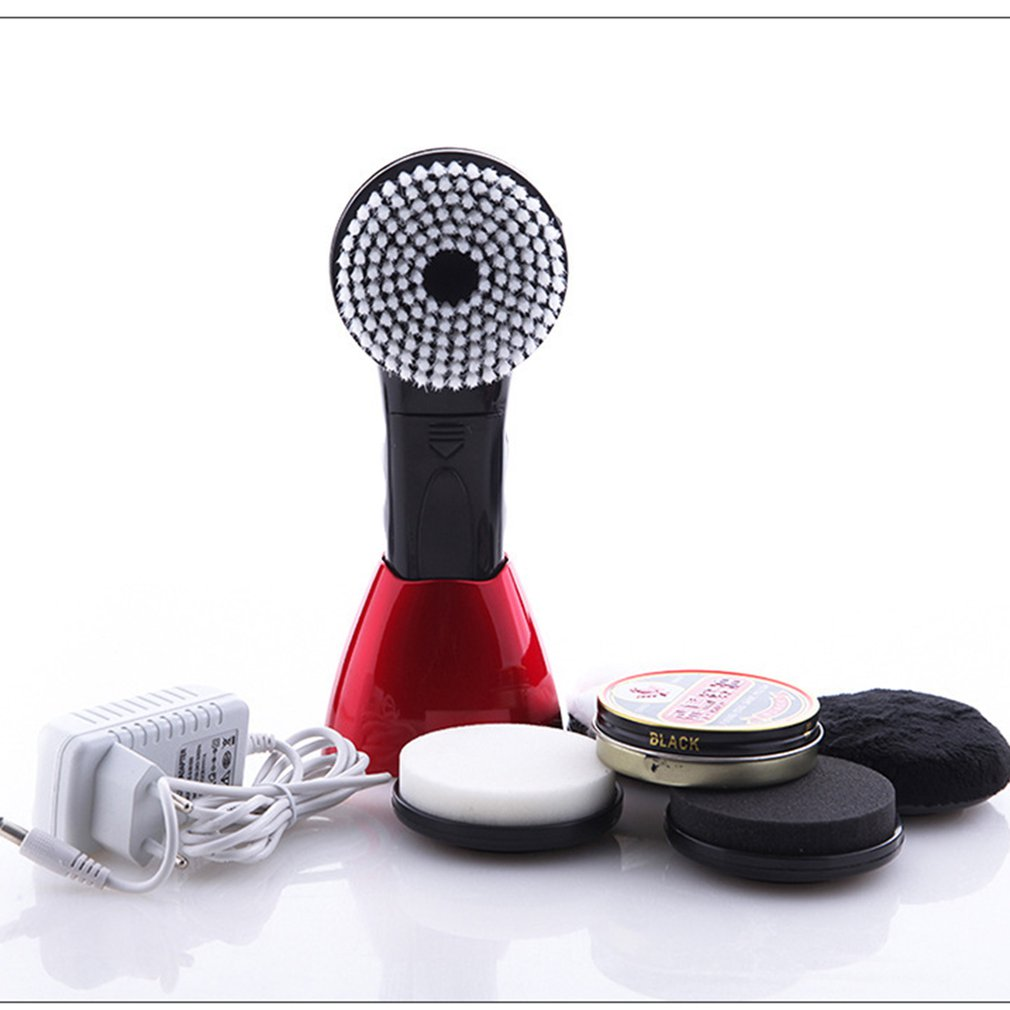 Portable Handheld Automatic Electric Shoe Brush Shine Polisher For Leather Bags Car Seat Cleaning Set Battery Powered