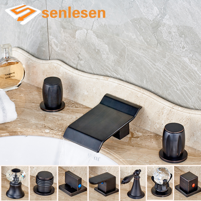 Oil Rubbed Bronze Bathroom Sink Mixer Taps with Waterfall Spout Water Faucet ulgksd 5 pcs bathtub faucet oil rubbed bronze waterfall spout mixer taps bathroom shower faucet w handshower