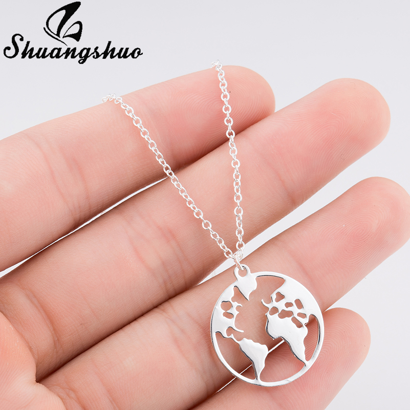 Shuangshuo Vintage Origami World Map Necklace Women Geometric Necklace Round Necklace Circle Necklaces & Pendants Choker Jewelry 3