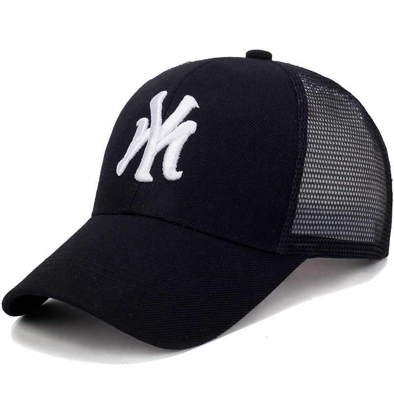 A MINHA Carta Moda Bordado Carta Pai Chapéu Bonés de Beisebol Cap Malha Respirável de Verão Chapéus de Sol Unissex Homens Mulheres Snapback Malha chapéu