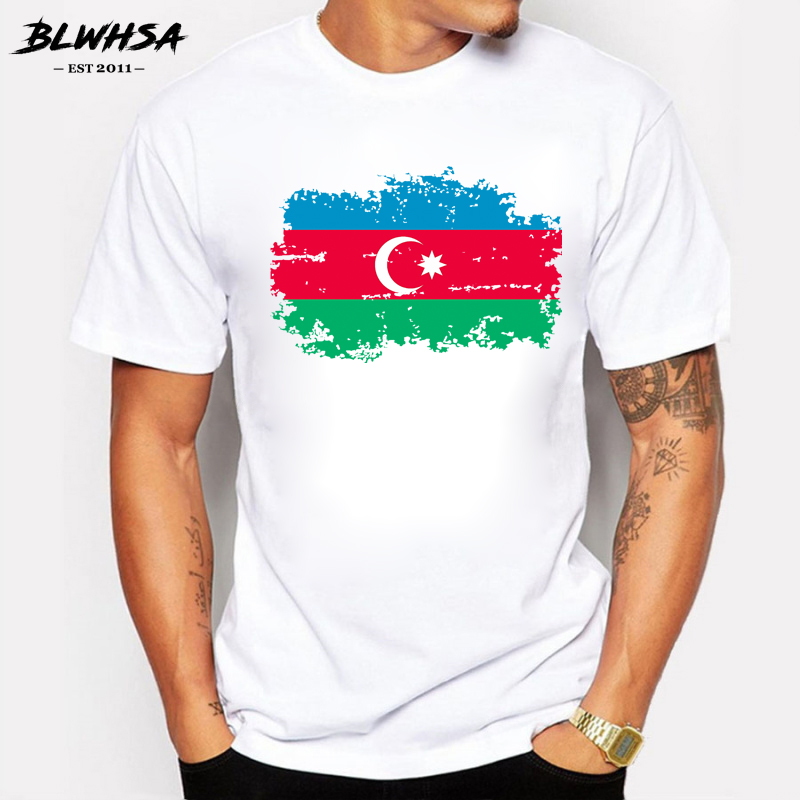 BLWHSA Azerbaijan Nostalgia Flag T Shirts Men Summer Short Sleeve Cotton Personality Design T-shirts For Men Fans Cheer Tops Tee