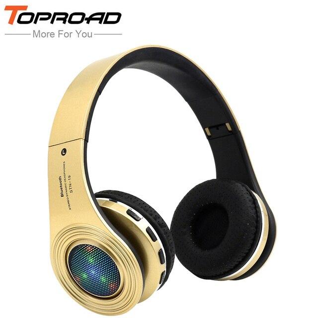 TOPROAD Incandescente Auricolari Bluetooth Fone de ouvido Cuffie Stereo  Bass Cuffie Microfono integrato LED TF Radio cec05a8129de