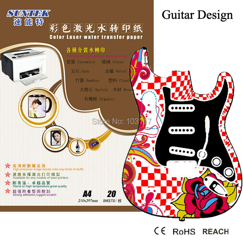 Guitar Waterslide Decals 10 Sheets Water Transfer Printing Papel
