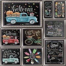 Get more info on the DIY diamond painting blackboard painting 5D full diamond 3D embroidery English letters cross stitch decorative painting