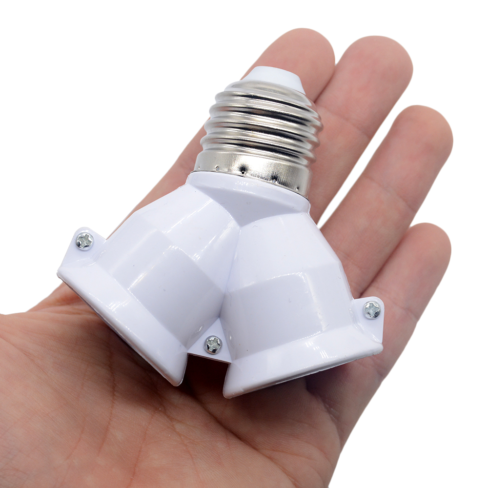 1Pcs White Color Fireproof Material Converter Socket Conversion Light Bulb Base E27 To 2 E27 Lamp Holder Converter