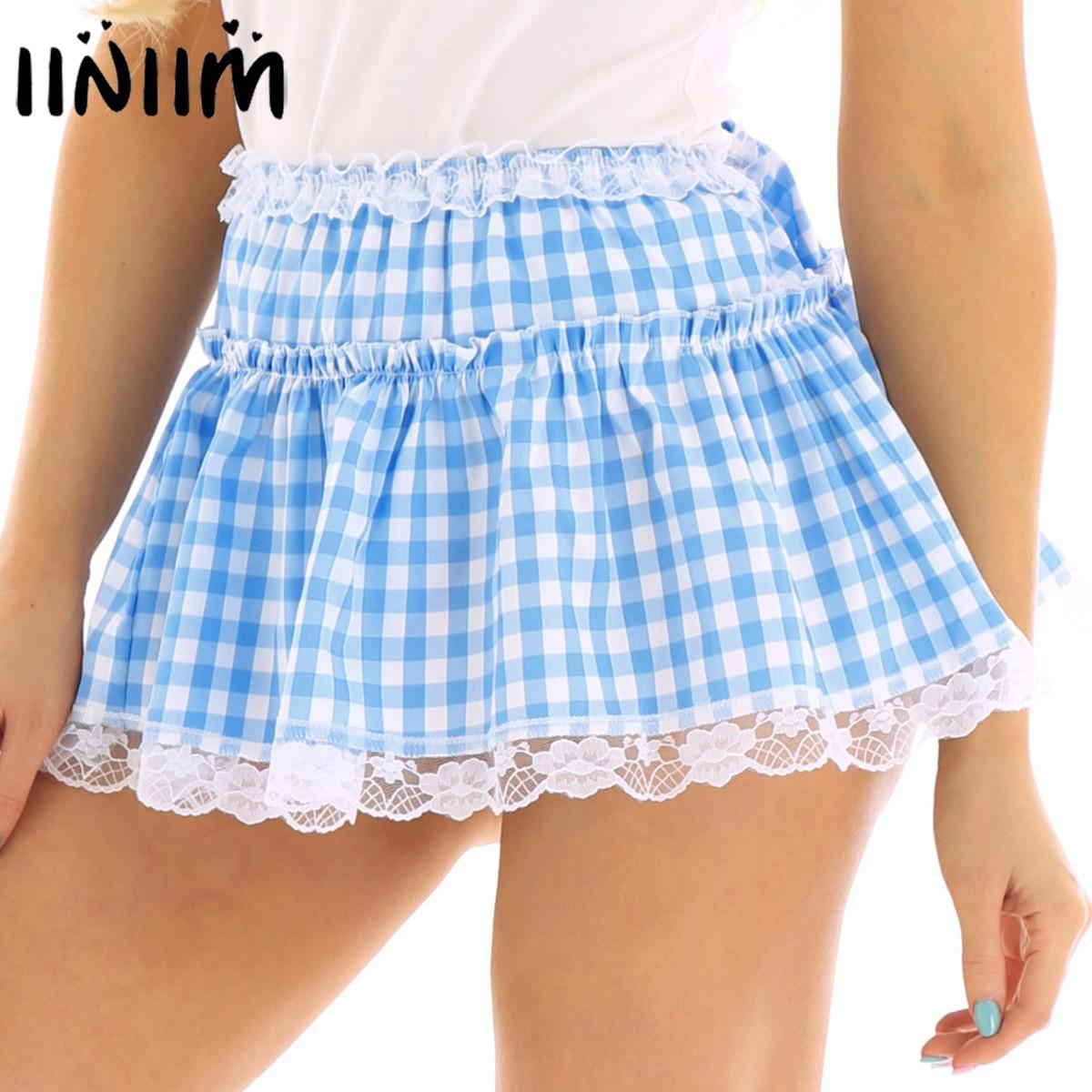 Men Women Sexy Clubwear Costume Dance Skirts Elastic Waistband Short Skirt With Lace Hem Pleated Gingham A-line Mini Skirt