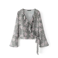 New 2017 Women Summer Fashion Blusa Long Flare Sleeve Full Floral Printed Front Ruffles Deep V