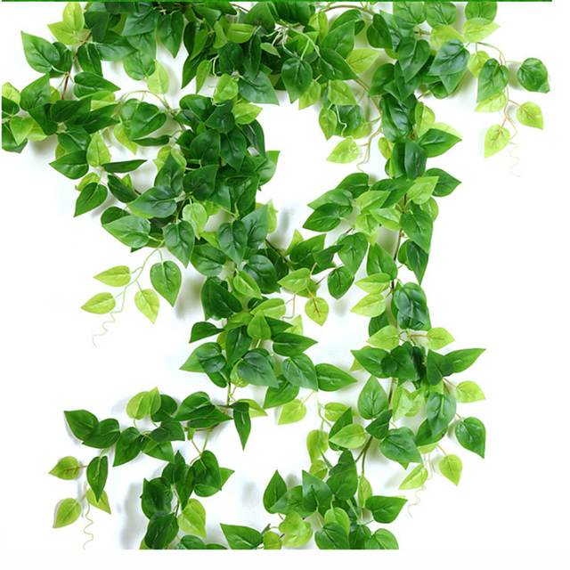 2.4 متر الاصطناعي اللبلاب الأخضر ليف جارلاند النباتات وهمية فاين أوراق الشجر الزهور ديكور المنزل البلاستيك الاصطناعي زهرة الروطان سلسلة